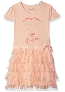 GUESS Girls' Little Short Sleeve Falling in Love Ruffle Dress