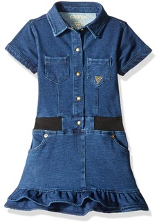 GUESS Little Girls' Short Sleeve Knit Denim Dress