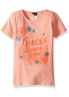 GUESS Girls' Little Short Sleeve Loves You T-Shirt