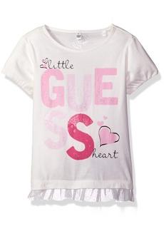 GUESS Little Girls' Short Sleeve Metallic Detailed Logo Tee Shirt