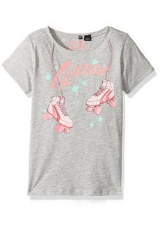GUESS Girls' Little Short Sleeve Roller Skates T-Shirt