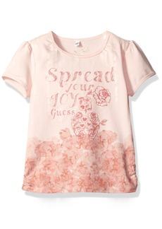 GUESS Little Girls' Short Sleeve Screen Print Tee Shirt  6X/7