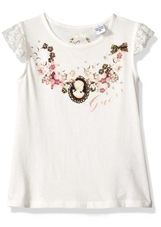 GUESS Little Girls' Sleeveless Lace and Jewelled T-Shirt