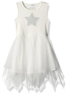 GUESS Girls' Little Sleeveless Star and Ruffled Dress True White A