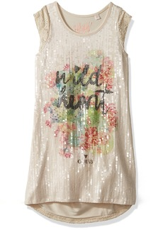 GUESS Girls' Little Sleeveless Wild Heart Sparkle T-Shirt
