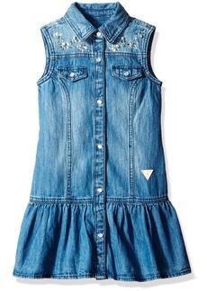 GUESS Girls' Little Sleeveless Cotton Denim Dress with Jewels