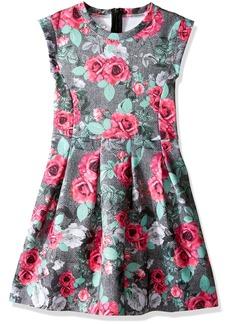 GUESS Little Girls' Sleeveless Rose Print Scuba Knit Dress