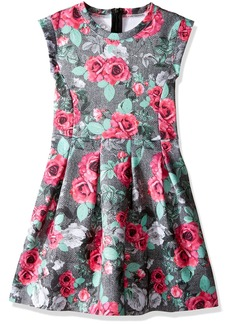 GUESS Girls' Little Sleeveless Rose Print Scuba Knit Dress