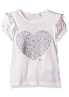 GUESS Little Girls' Sparkle Hearts Ruffle Sleeve Tee Shirt