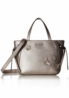 GUESS Lizzy Metallic Satchel pewter