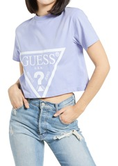 GUESS Logo Crop Cotton Graphic Tee
