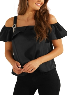 Guess Lolie Embellished Cold-Shoulder Top