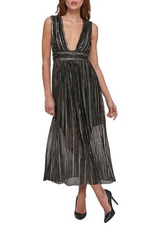 GUESS® Long Shimmer Foil Chiffon Dress