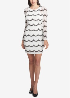 Guess Long-Sleeve Illusion Lace Dress