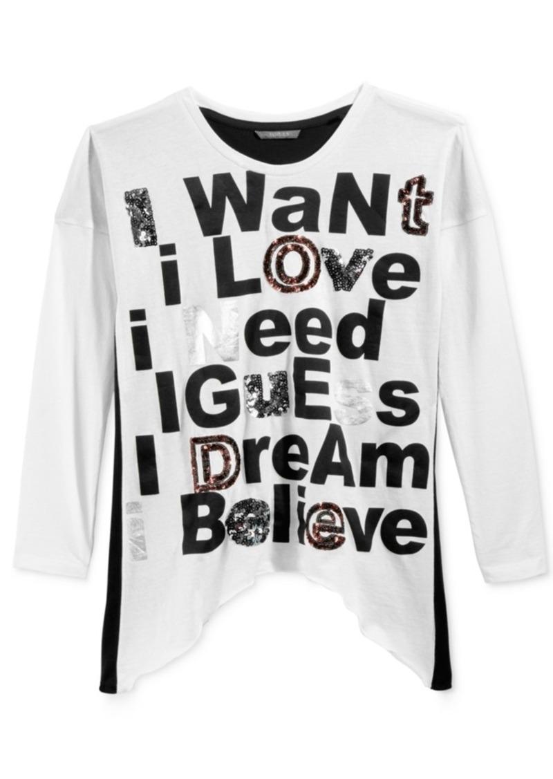 Guess Long-Sleeve Sequin Graphic T-Shirt, Big Girls (7-16)