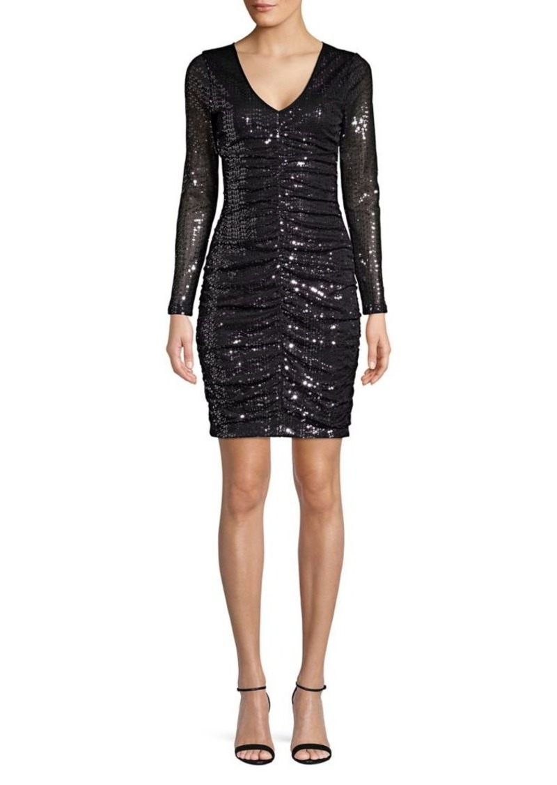 Guess Long-Sleeve Sequined Mini Dress