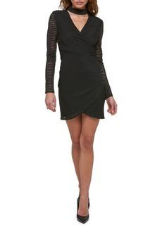 Guess Long-Sleeve Stripe Choker Mini Dress