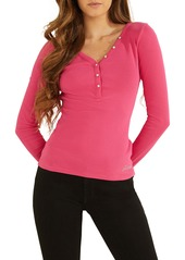 GUESS Long Sleeve V-Neck Henley Top