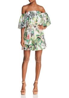 GUESS Lucienne Botanical Off-the-Shoulder Eyelet Dress