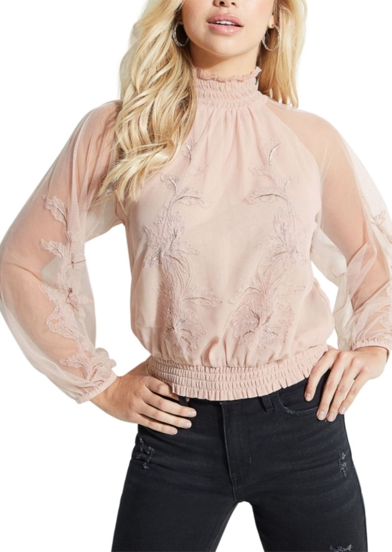 Guess Luissa Sheer Mock Neck Top