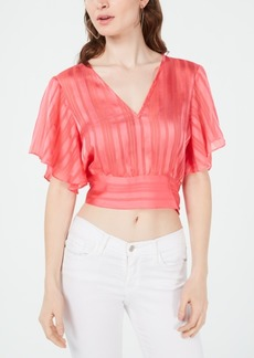 Guess Mabel Cropped Butterfly-Sleeve Top