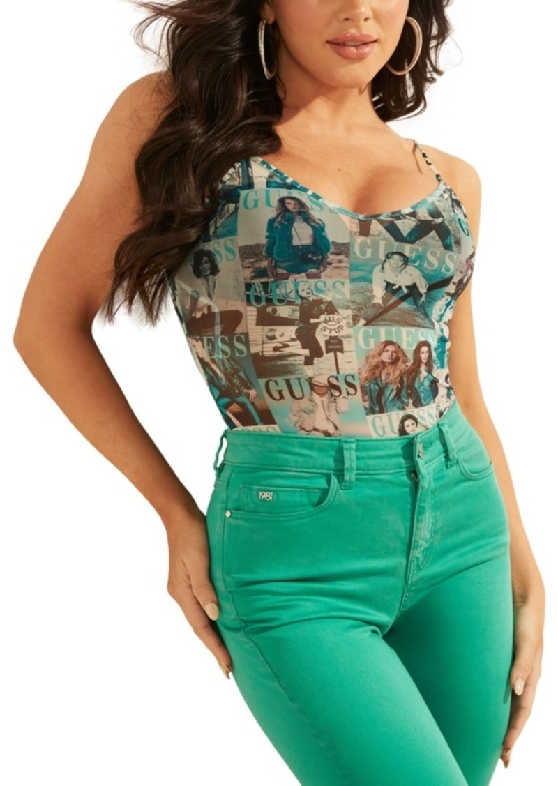 Guess Magazine-Print Sleeveless Bodysuit