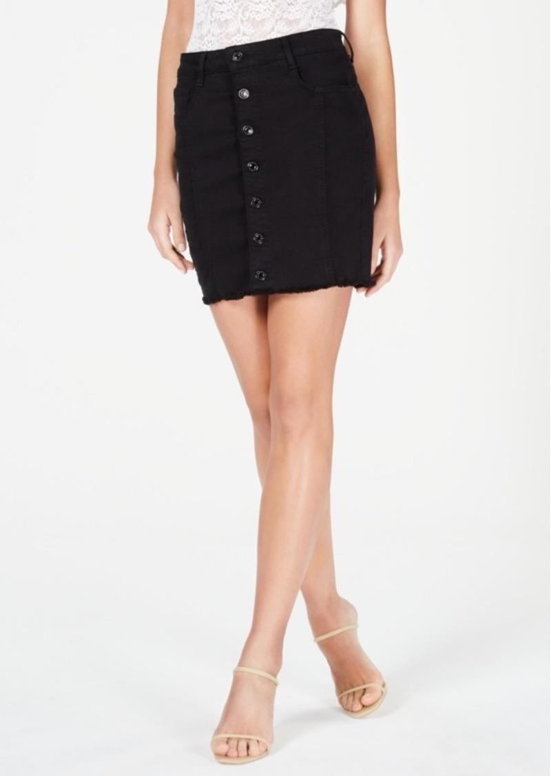 Guess Mara Frayed Button-Front Skirt