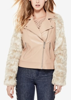 Guess Marco Faux-Leather Faux-Fur Moto Jacket