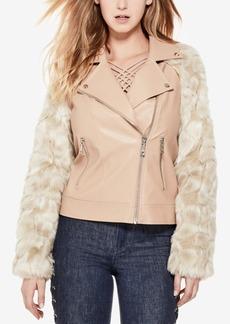 Guess Marco Faux-Leather Faux-Fur Moto Jacket