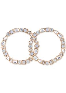 """Guess Medium Gold-Tone Crystal Front-Facing Medium Hoop Earrings 1.75"""""""