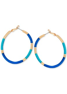 "Guess Medium Gold-Tone Thread-Wrapped Hoop, 2"" Earrings"