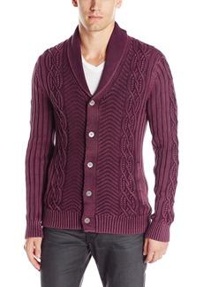 GUESS Men's Acid Wash Shawl Collar Cardigan Sweater  XL