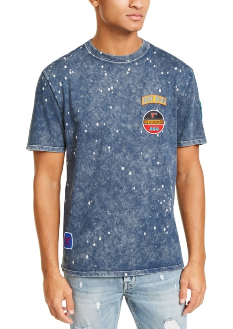 Guess Men's Acid-Washed Embroidered Patch T-Shirt