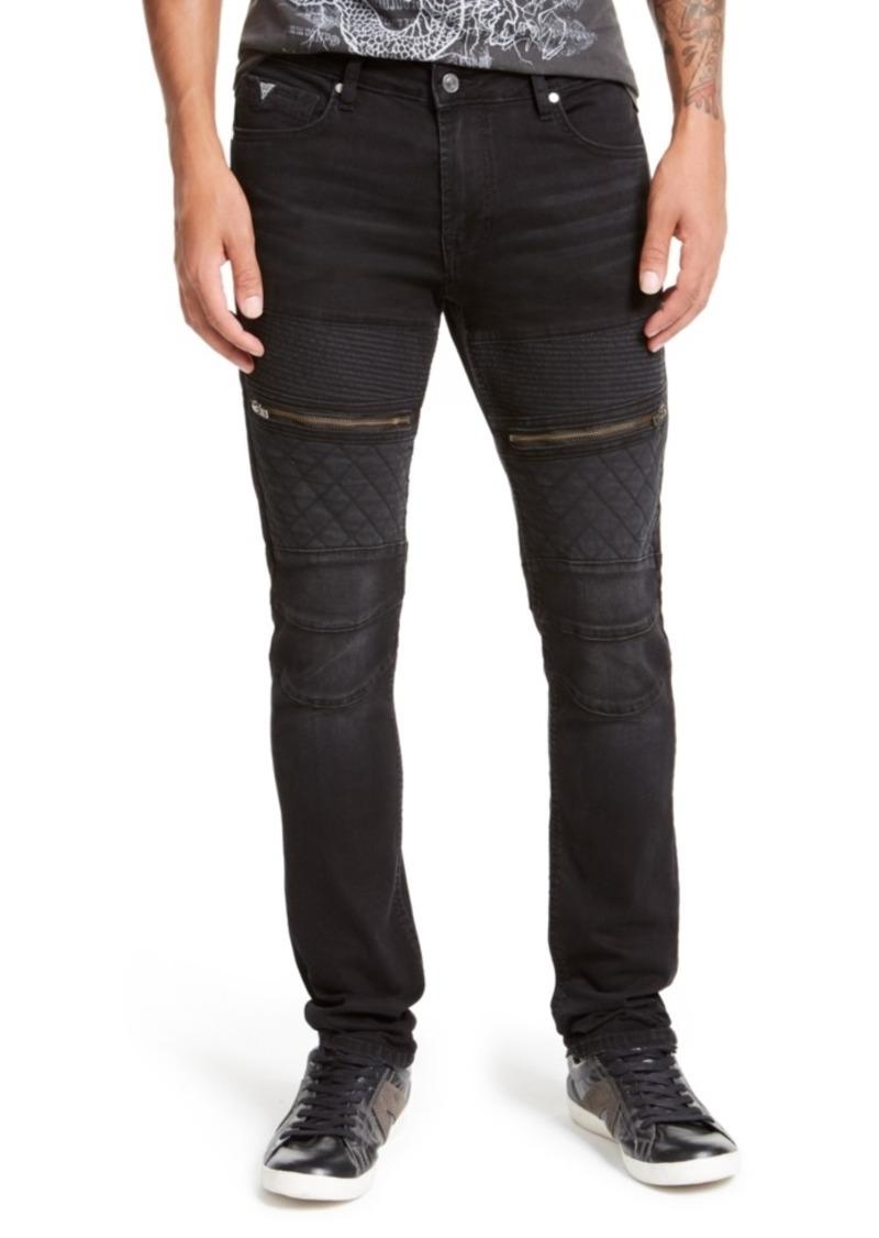 Guess Men's Black Coated Moto Skinny Jeans