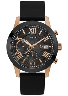 Guess Men's Black Silicone Strap Watch 45mm