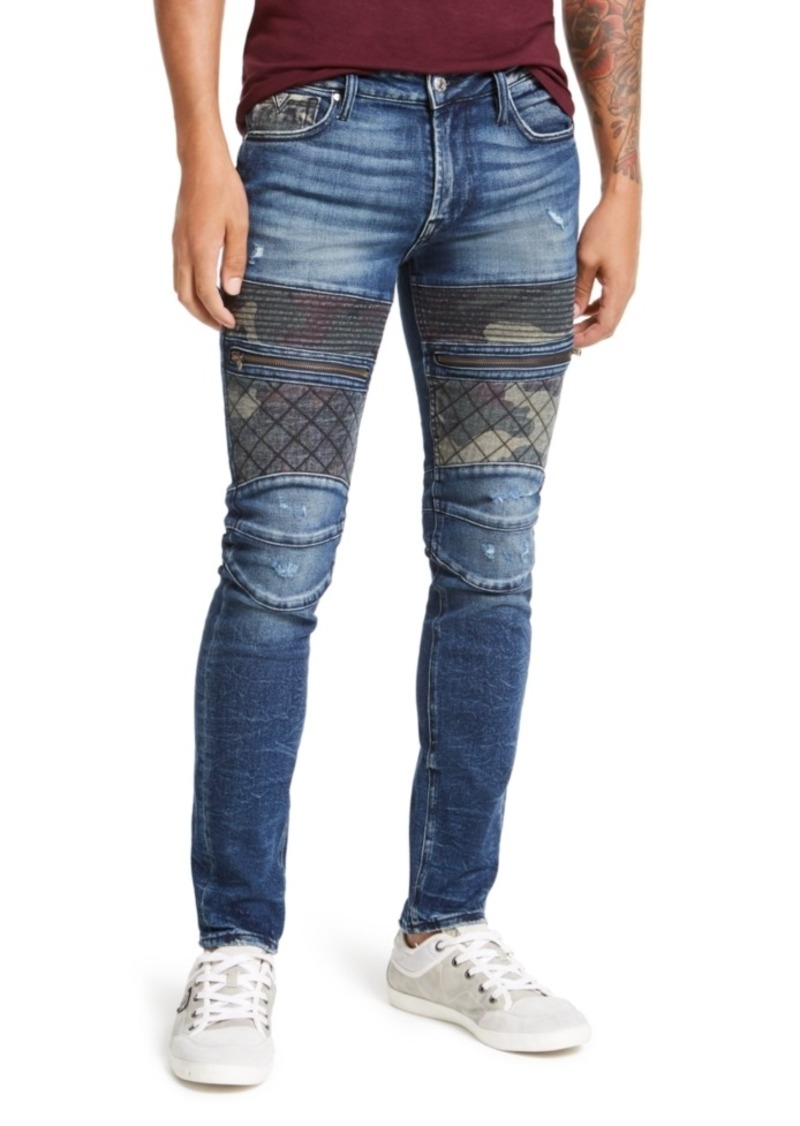 Guess Men's Blocked Moto Skinny Jeans