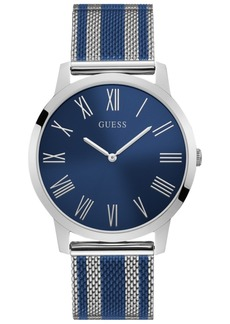 Guess Men's Blue & Silver-Tone Stainless Steel Mesh Bracelet Watch 44mm