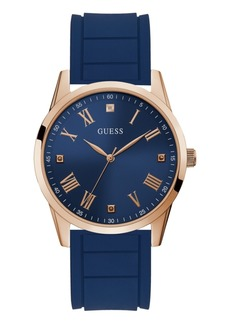 Guess Men's Blue Diamond Silicone Watch 42MM, Created for Macy's