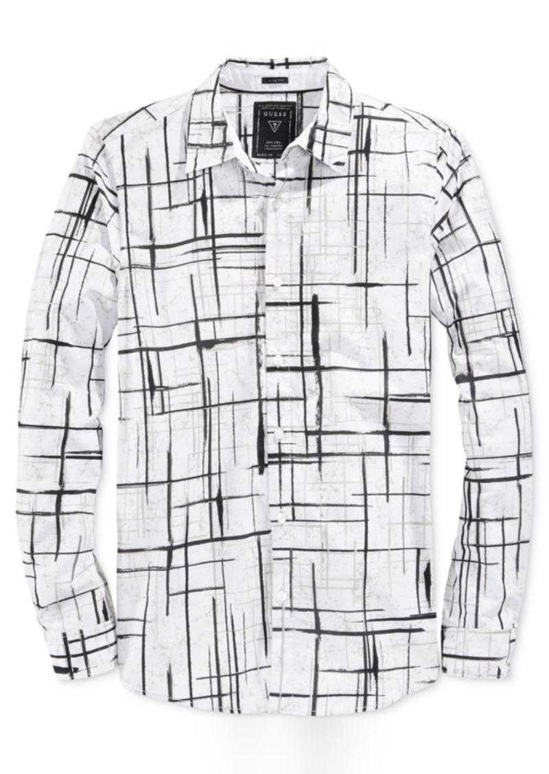 Guess Men's Break Crosshatch-Print Long-Sleeve Shirt