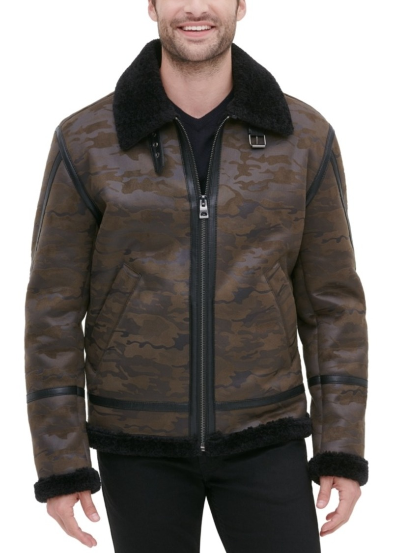 Guess Men's Camo Print Bomber Jacket with Faux Shearling