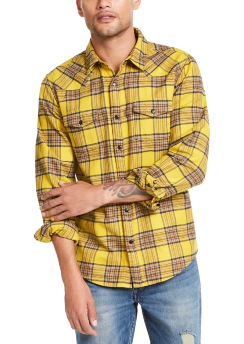Guess Men's Canopy Plaid Western Shirt