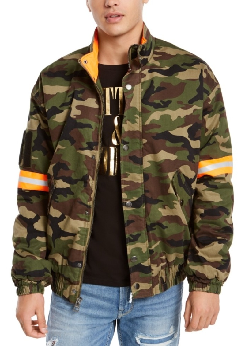 Guess Men's Carter Camouflage Reflective Logo Jacket