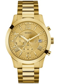 Guess Men's Chronograph Gold-Tone Stainless Steel Bracelet Watch 45mm U0668G4