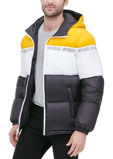 Guess Men's Colorblock Hooded Logo Puffer Jacket