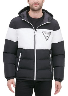 Guess Men's Colorblock Hooded Puffer Jacket