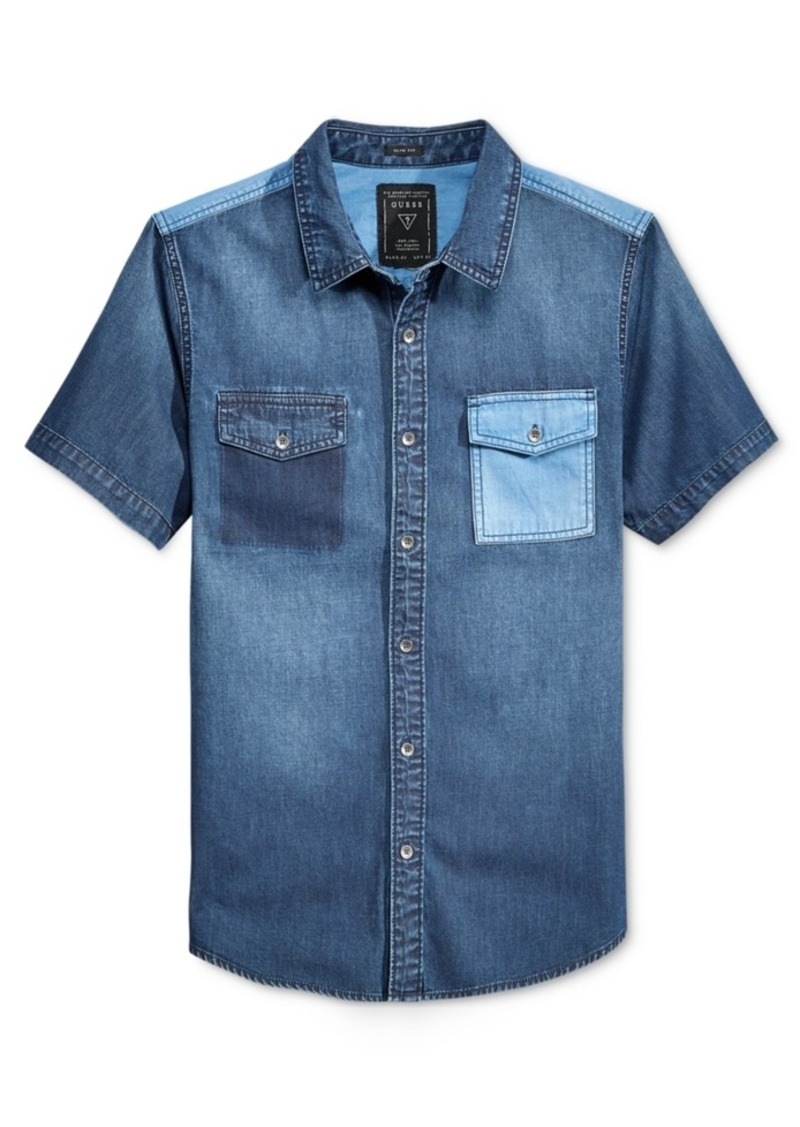 Guess Men's Colorblocked Denim Short-Sleeve Shirt