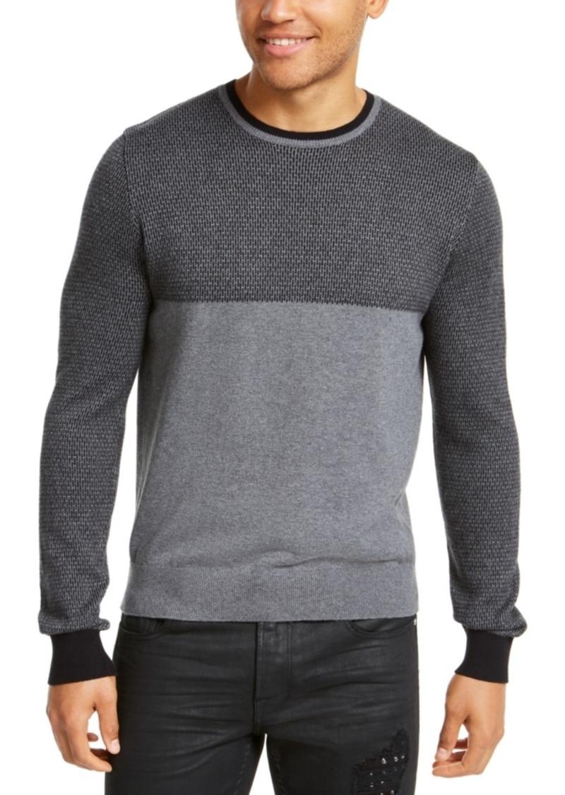 GUESS Mens Splatter Jacquard Pullover Sweater