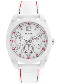 Guess Men's White Silicone Strap Watch 46mm