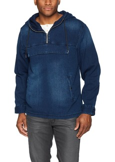 GUESS Men's Denim Anorak Pullover Medium Weathered wash L