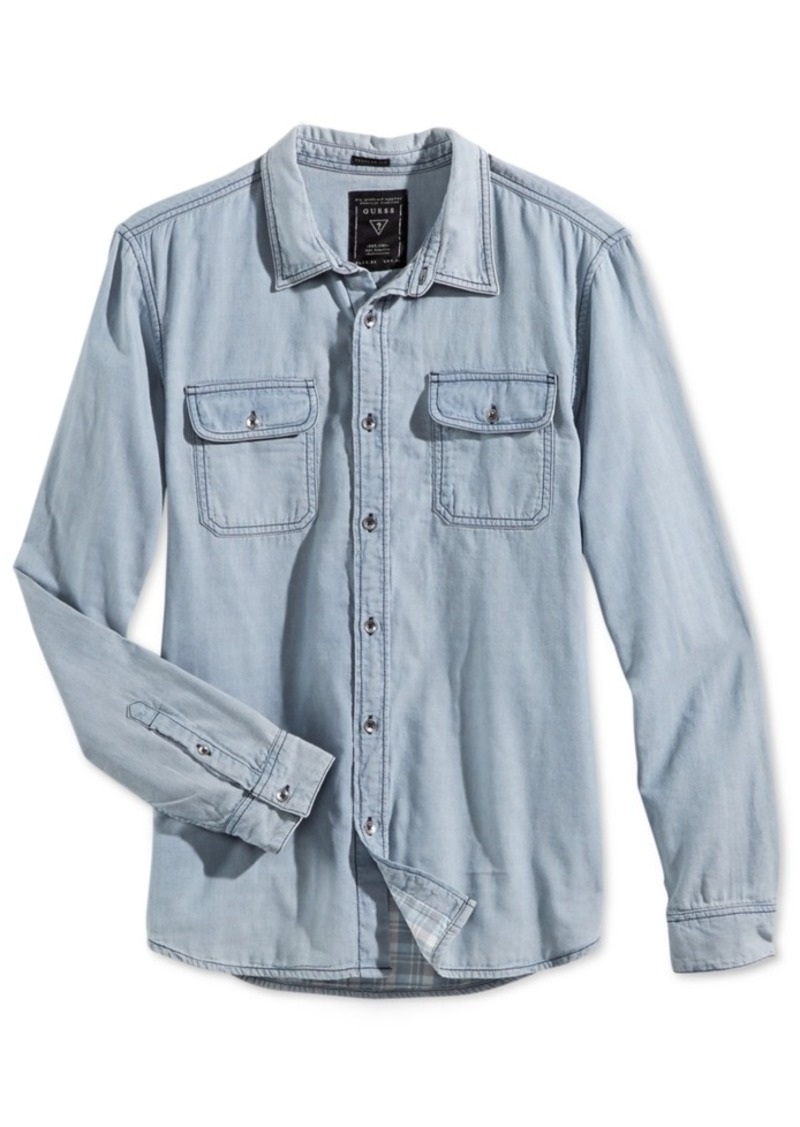 Guess Men's Denim Blue Bottle Wash Long-Sleeve Shirt